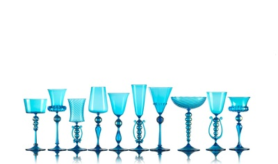 Michael Schunke goblets, hand blown glass, Venetian style stemware, made in America, colored glass, wine glasses, colorful cocktail vessels. Blue turquoise glass, murano style goblets, mistral kitchen glassware, aqua glass, colored glass