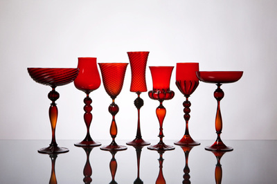 Michael Schunke goblets, hand blown glass, Venetian style stemware, made in America, colored glass, wine glasses, colorful cocktail vessels. Red glass.