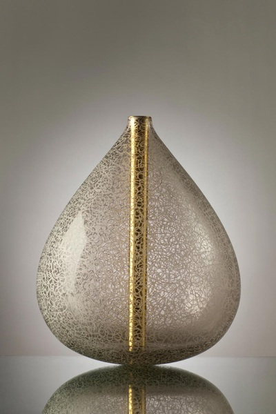 Michael Schunke, Twine Crucible Sculpture. Polished Brass, Hand-Blown Glass, Engraved.
