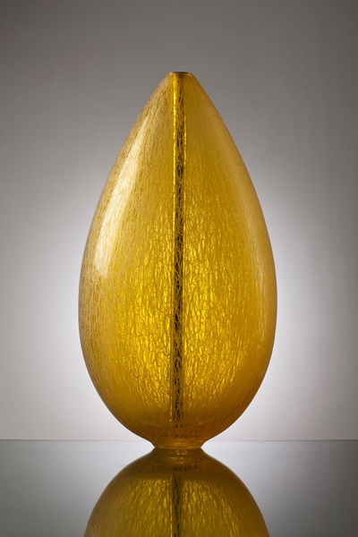 Michael Schunke, Fabric Crucible. Hand Blown Glass Sculpture, Polished Brass Core. Engraved Texture.