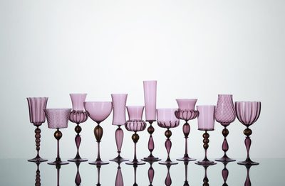 Michael Schunke goblets, hand blown glass, purple glass, Venetian style stemware, made in America, colored glass, wine glasses, colorful cocktail vessels. @thegobletninja the goblet ninja, instagram goblets