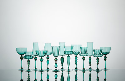 Michael Schunke goblets, hand blown glass, Venetian style stemware, made in America, colored glass, wine glasses, murano glass, seafoam glass, colorful cocktail vessels.